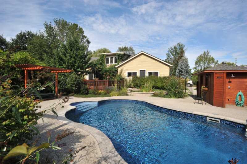 in-ground heated pool, ornamental pond & salt water hot tub