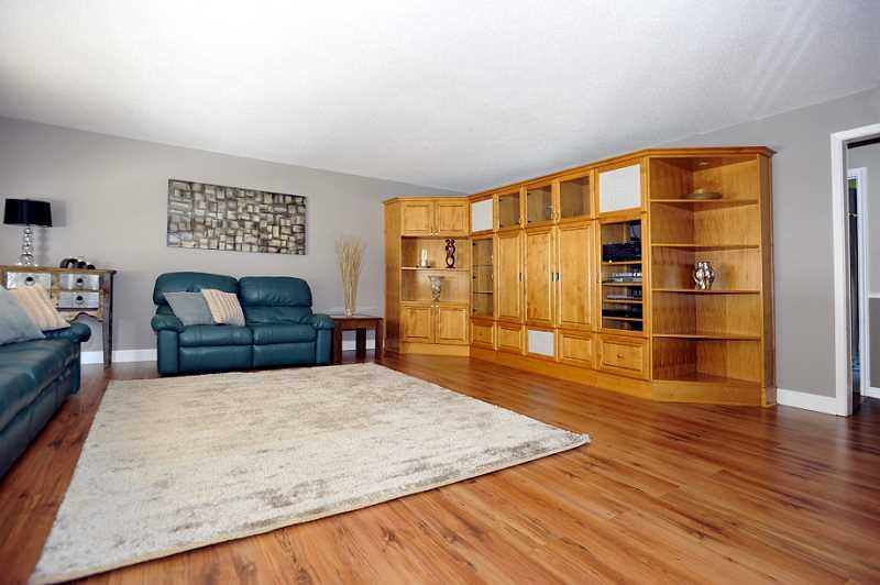 Living Room Custom built-in oak wall unit