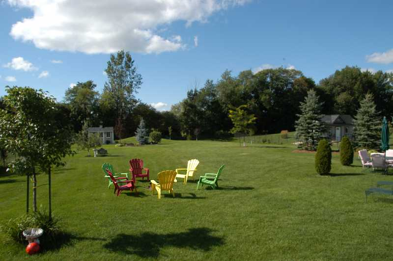 sprinkler system for back yard, and a septic system, town water