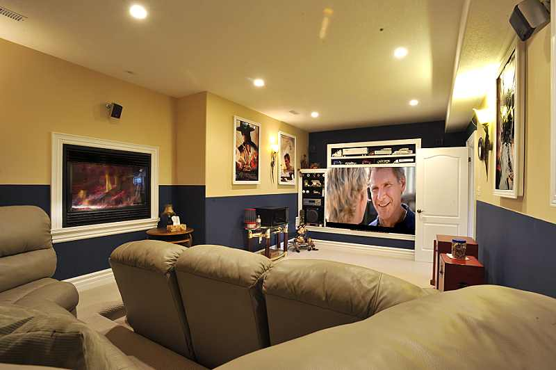 Media Room, Raked Seating, Fireplace