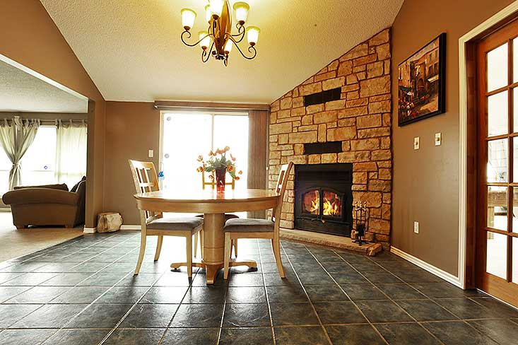 wood fireplace, dining room, walk out