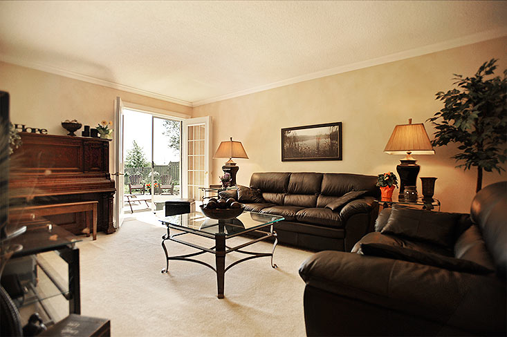 Living Room, Crown Mouldings, Walk-Out to Yard