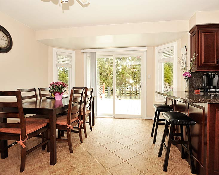 Open concept Kitchen, walk out to deck