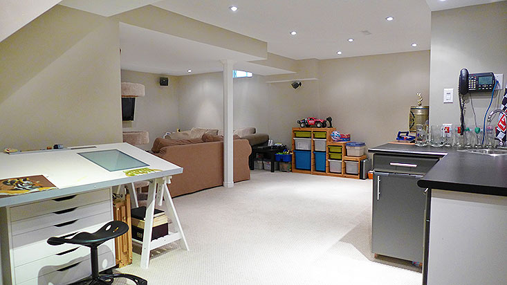 Finished Basement, Rec Room, Pot lights, Bar