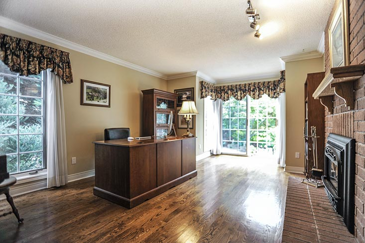 Office, hardwood floors