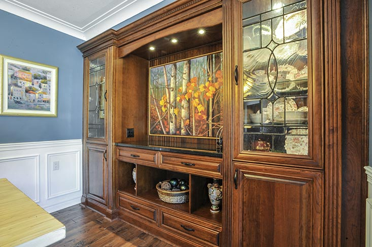Custom Design, Hutch, Granite, Leaded Glass, Cherry
