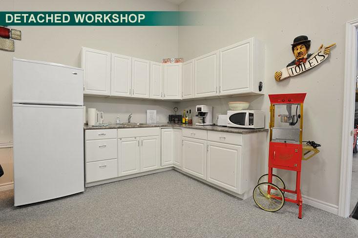 garage, kitchenette, detached workshop,
