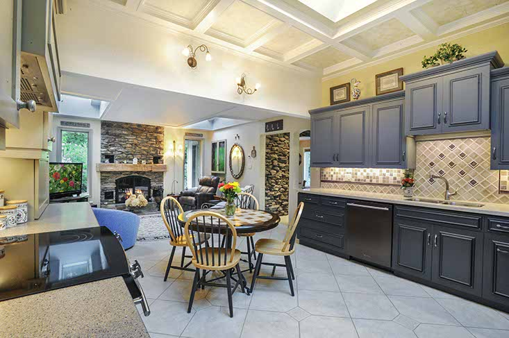 Open Concept Kitchen, skylights, walk-out to deck