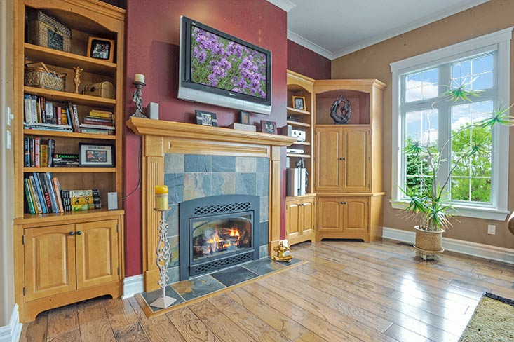 Great Room, built in shelving, gas fireplace