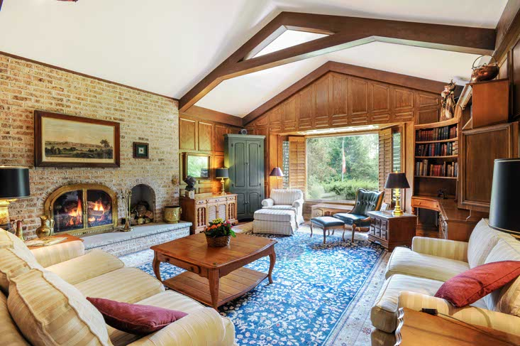Family Room, fireplace, cathedral ceiling