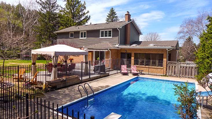 inground pool, hilltop, backyard