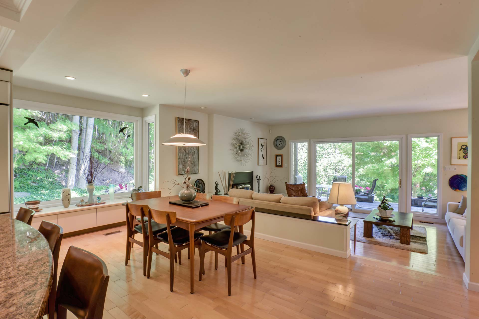 Dining Room, Maple flooring, Picture Window, Nature