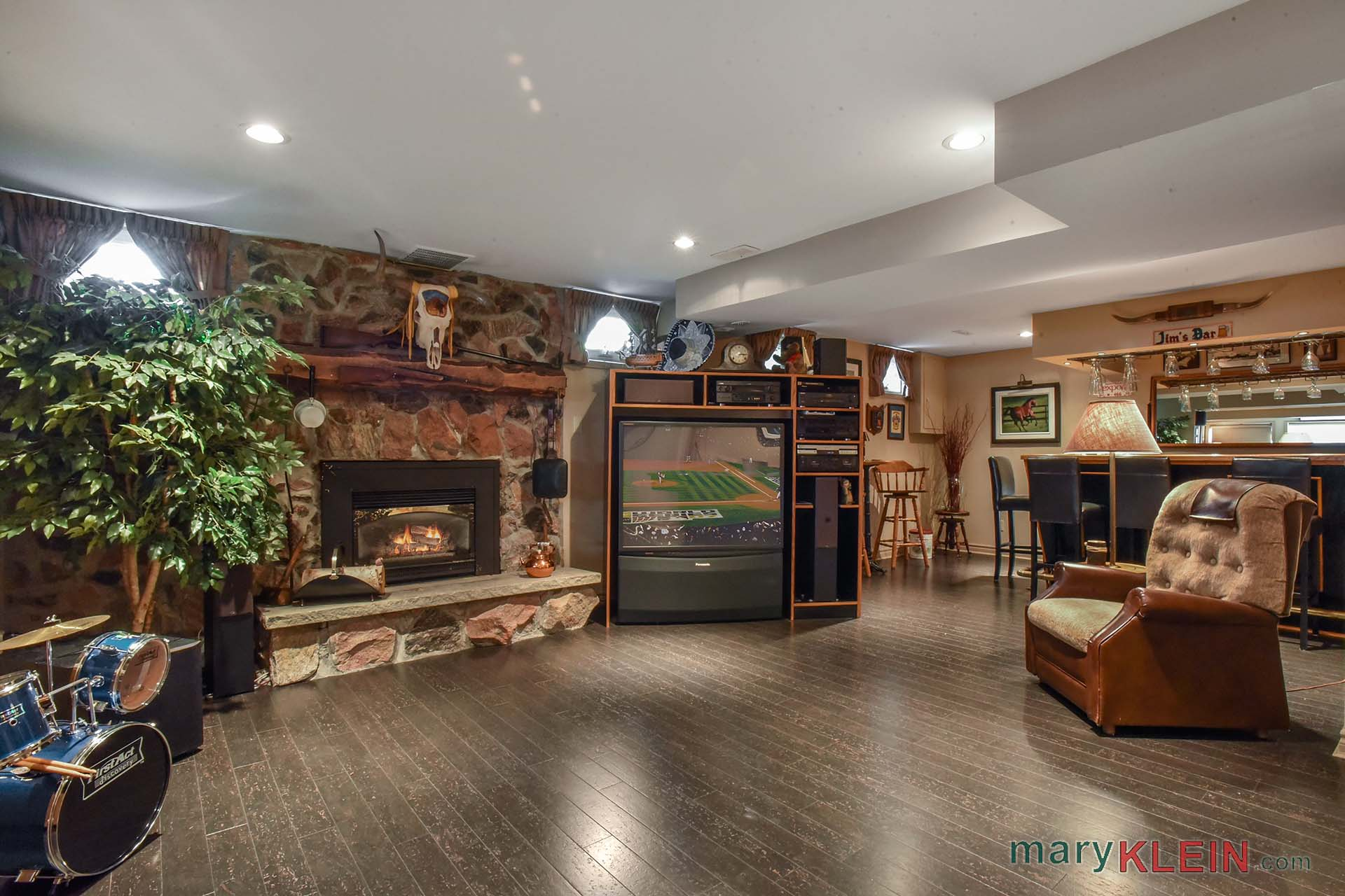 Rec room, gas fireplace, man cave