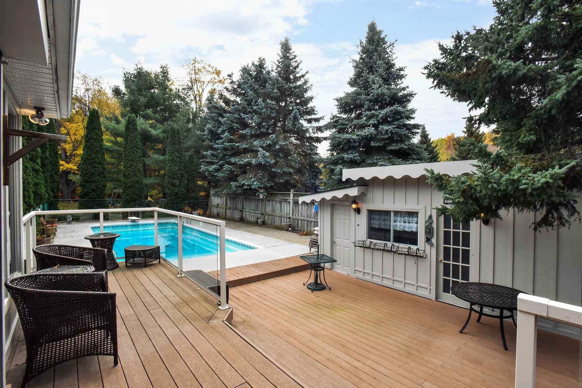 trex decking, pool cabana, inground pool