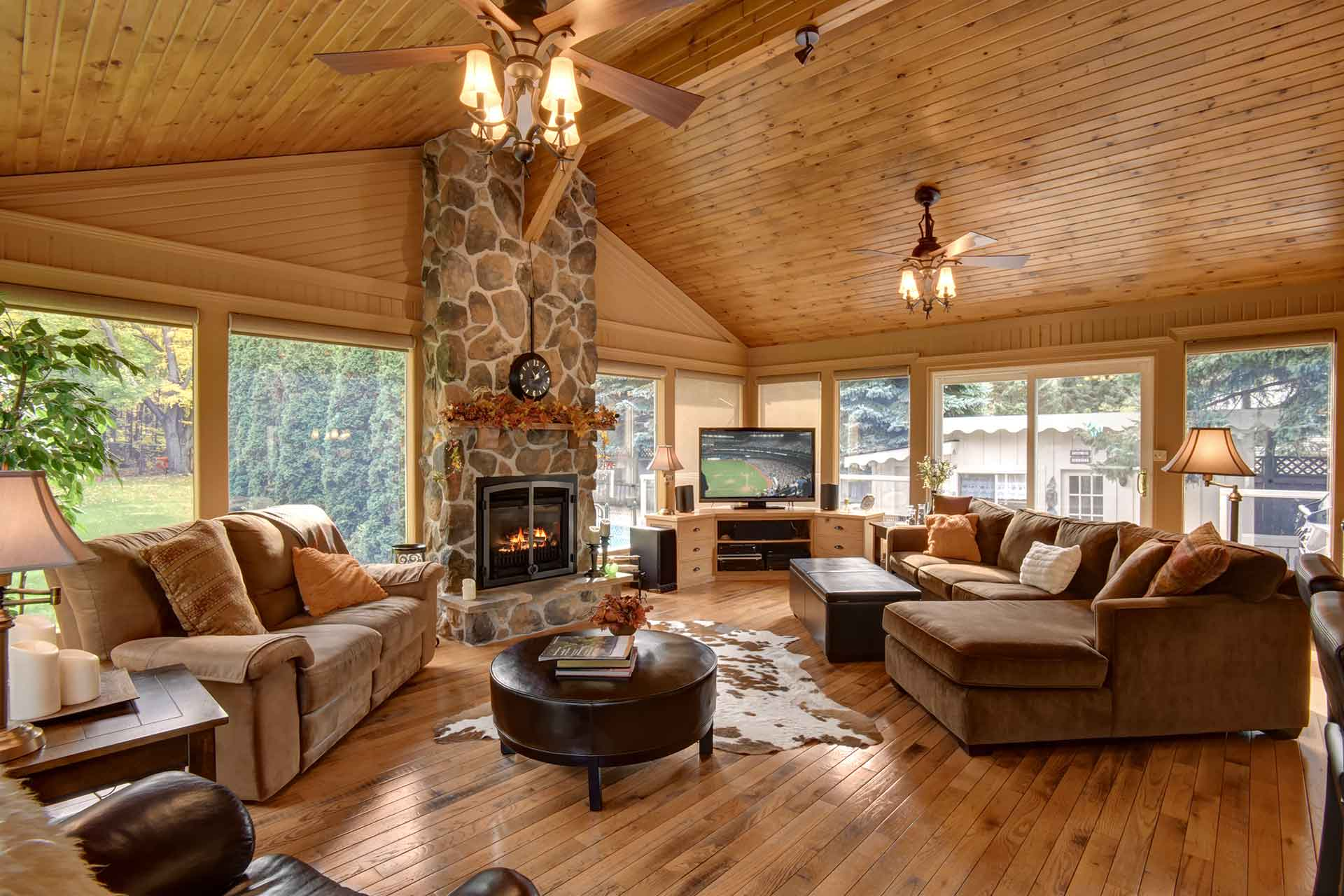 Great Room, Pine Ceiling, Stone Fireplace, Window Wall