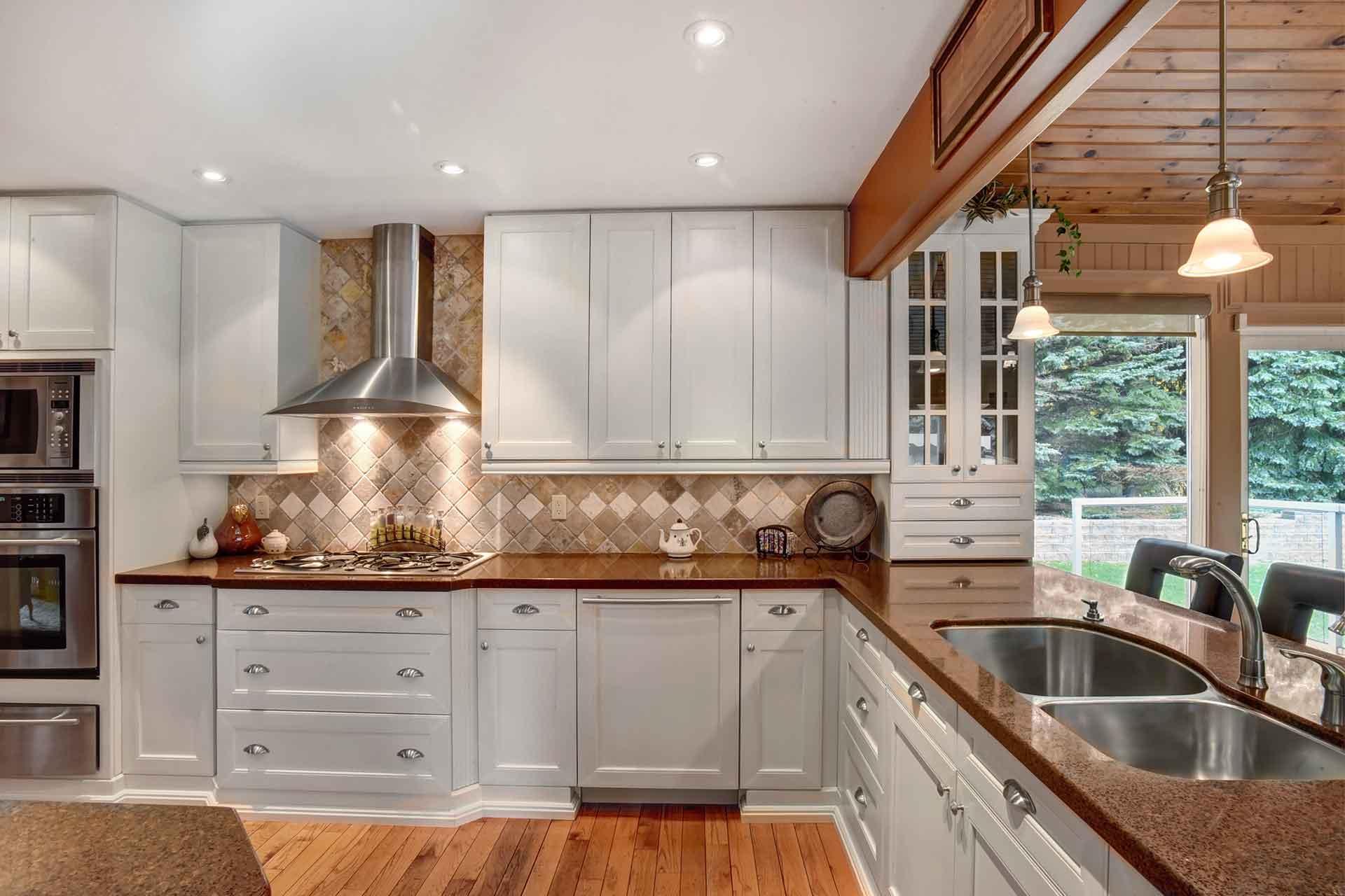 Kitchen, caesarstone countertops, pot lighting