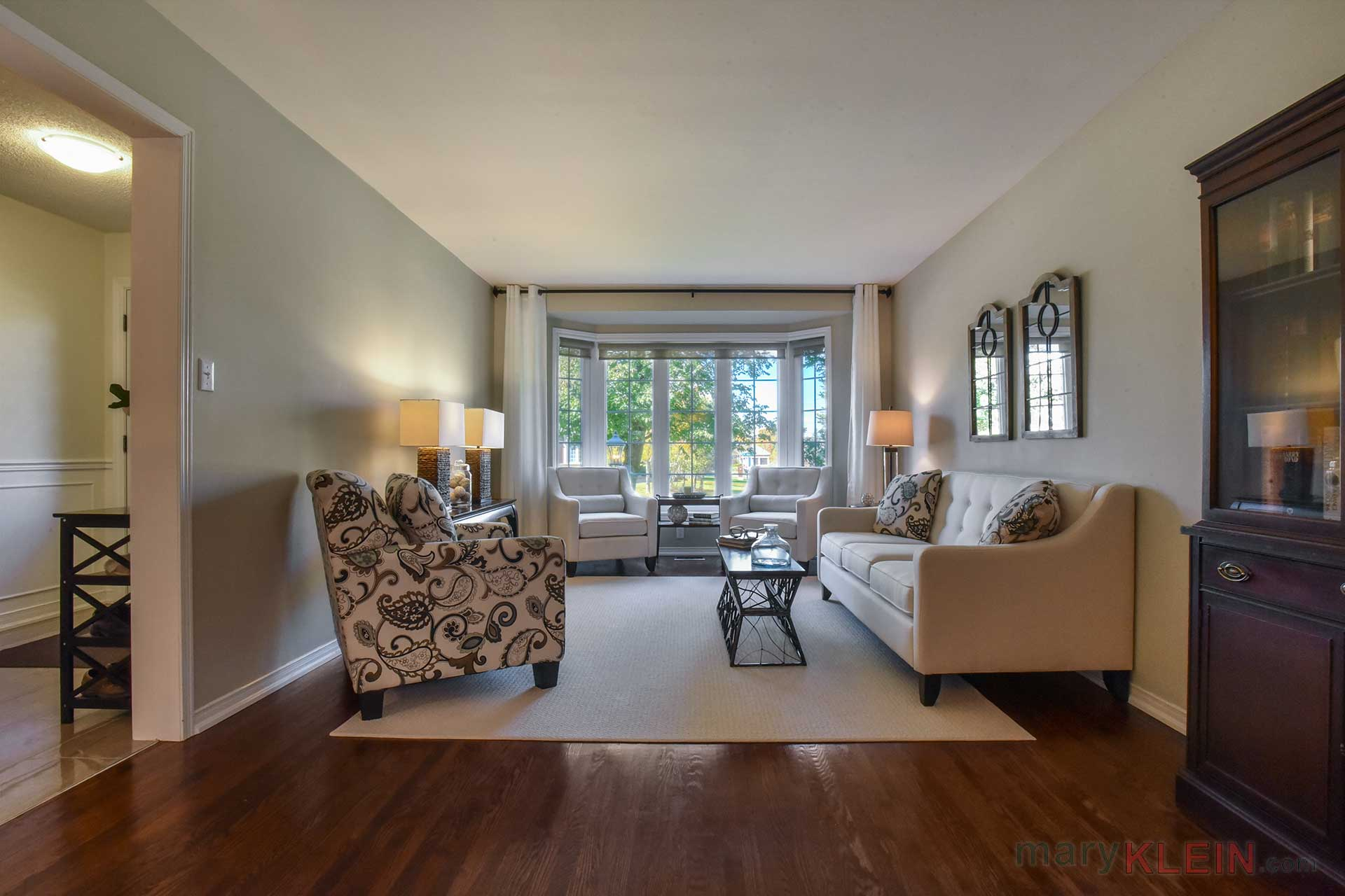 Living Room, Oak Flooring, Picture window, Hunter Douglas